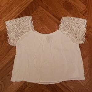 Forever 21 White Short Sleeve Crop Top